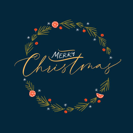 Christmas card with hand drawn wreath and hand-lettered text. Holidays poster. Stock Illustratie