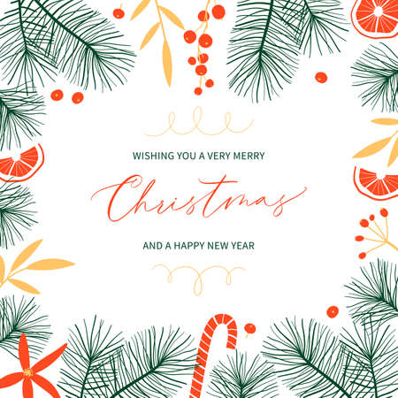 Christmas botanical greeting card with fir branches and place for text. Stock Illustratie