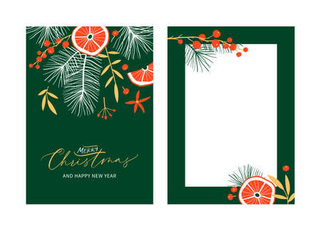 Set of Christmas and Happy New Year Floral Card templates with handwritten calligraphy. Trendy vintage style. Stock Illustratie