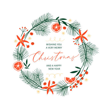 Christmas card with hand drawn wreath and hand-lettered text. Holidays poster. Vector illustration