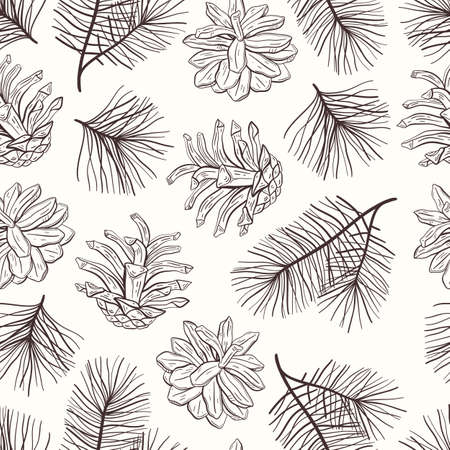 Elegant hand drawn Christmas seamless pattern with pine cones and branches. Winter botanical vintage background. Vector illustration