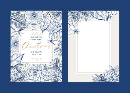 Set of Christmas floral greeting card templates with handwritten calligraphy. Trendy vintage style. Vector illustration Illusztráció