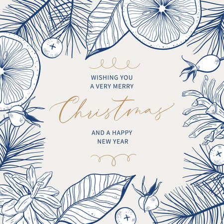 Christmas greeting card with hand drawn botanical frame and place for text. Vector illustration