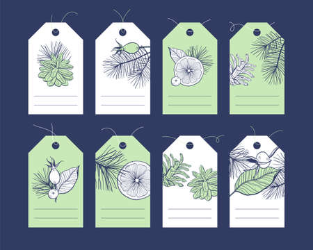 Christmas and New Year tags collection with hand drawn floral elements