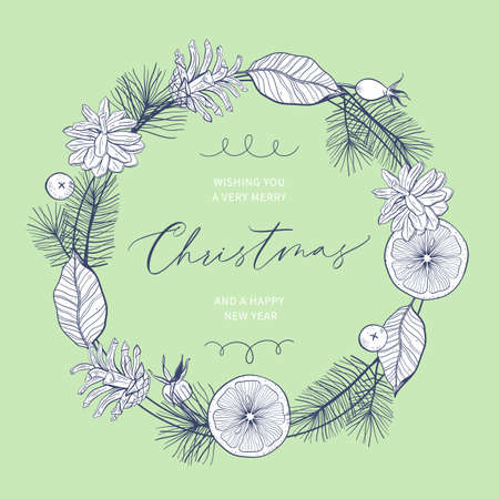 Christmas card with hand drawn wreath and hand-lettered text. Holidays poster. Illusztráció