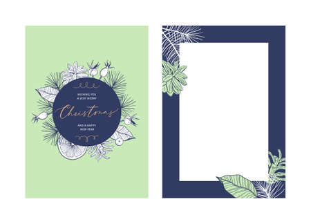 Christmas floral greeting card template with handwritten calligraphy. Trendy vintage style.