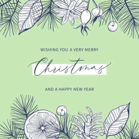 Merry Christmas and Happy New Year Floral Card template with handwritten calligraphy. Trendy vintage style