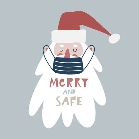 Cute hand drawn Santa Claus in medical face mask, Merry and Safe lettering.