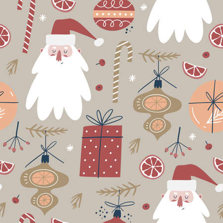 Winter seamless pattern with a cute Santa and Christmas decorations.
