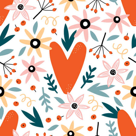 Valentines day seamless pattern with flowers, leaves and hearts. Romantic background. Illusztráció
