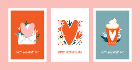 Set of Valentines day greeting cards with hand drawn decorative elements.