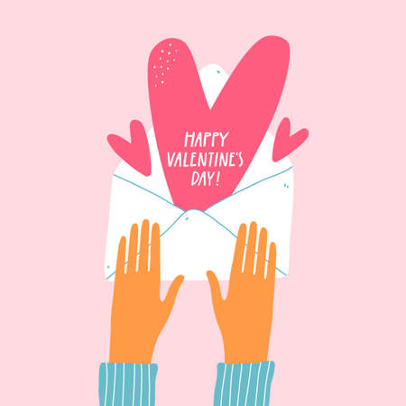 Valentines day greeting card with hands and envelope.