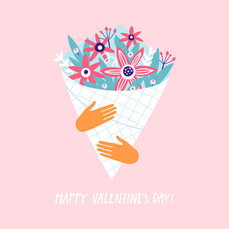 Hands holding bouquet of flowers. Greeting card for Valentines Day