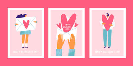 Set of cute greeting cards for valentines day. Postcards with people.