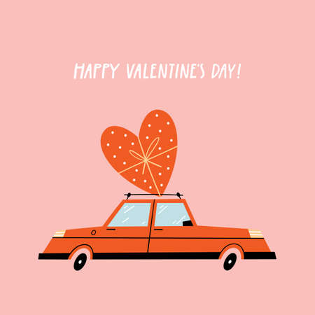 Valentines Day greeting card with retro car.