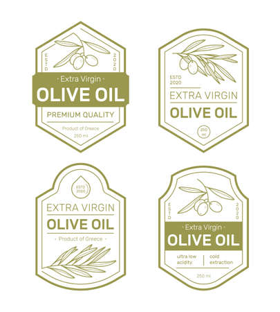 Olive oil label set design templates