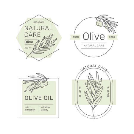 Set of stickers, stamps, tags for olive oil, soap, cosmetics and other. Minimal linear style.