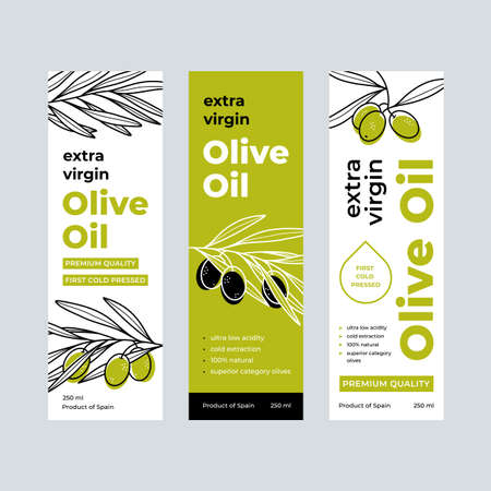 Olive Oil Label Set. Design templates for packaging oil. Illusztráció