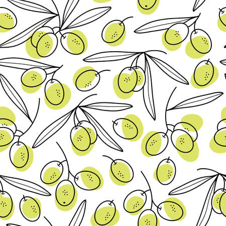 Olives seamless pattern. Branches with green olives for packaging or fabric.