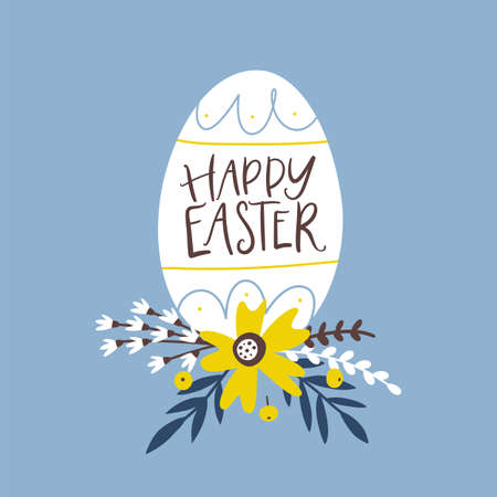 Happy Easter greeting card with decorative egg and handwritten holiday wishes.