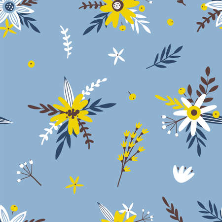 Spring seamless pattern with flowers and branches. Perfect for wallpaper, textile, wrapping paper, greeting cards Illusztráció