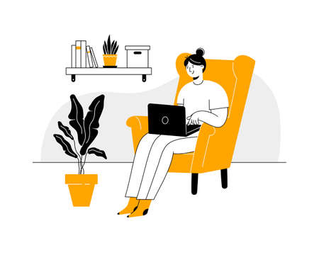 Young woman freelancer working from home. Remote work or distance learning, home office.