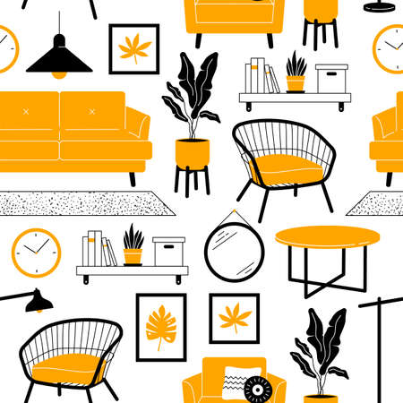 Living room furniture seamless pattern. Sofa, armchair, houseplants, objects decoration in simple trendy flat style. Illusztráció
