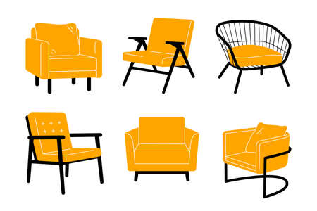 Set of various Scandinavian Armchairs. Simple furniture elements.
