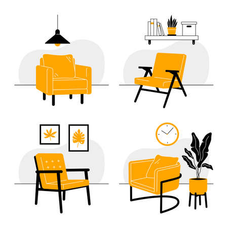 Set of interiors with armchairs. Simple furniture elements. Illusztráció