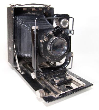 Antigua cámara de gran formato 9x12 (aislada en blanco) Foto de archivo