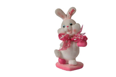 toy chest: Valentines day bunny toy isolated white background Stock Photo