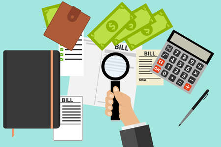 medical bill: Bills, receipts, looking through a magnifying glass, magnifying glass in hand. Flat design, vector illustration, vector