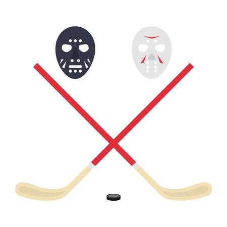 puck: Hockey, hockey stick, puck. Flat design, vector illustration, vector.