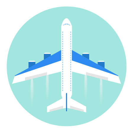 Airplane, flight, travel. Flat design, vector illustration, vector.