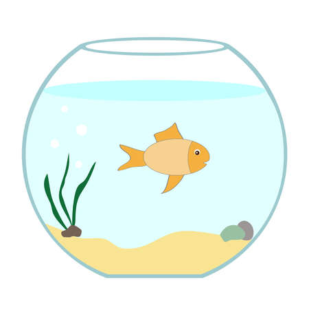 Aquarium with fish. Flat design, vector illustration, vector. Illustration