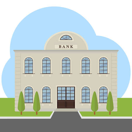 Building of the bank, the bank. Flat design, vector illustration, vector.
