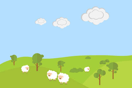 Sheep grazing in the meadow. Flat design, vector illustration, vector.