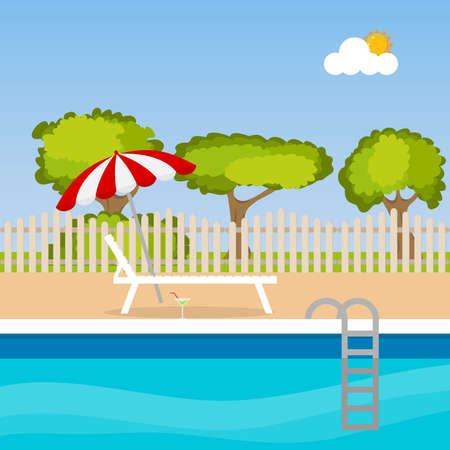 loungers: Sun loungers by the pool. Flat design, vector illustration, vector.
