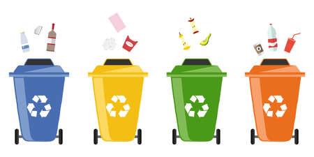 Garbage bins. Flat design, vector illustration, vector.