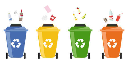 Garbage bins. Flat design, vector illustration, vector.
