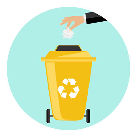 Hand throw garbage. Flat design, vector illustration, vector.
