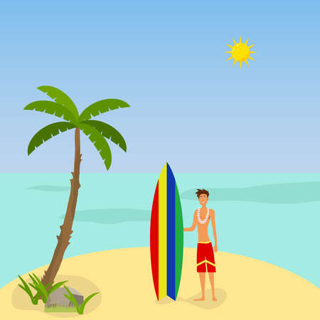 A man with a surfboard. Flat design, vector illustration, vector.