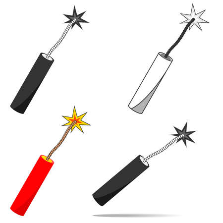 Stick of dynamite. Flat design, vector illustration, vector. Illustration
