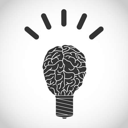 Brain in the form of a glowing light bulb. Flat design, vector illustration, vector.