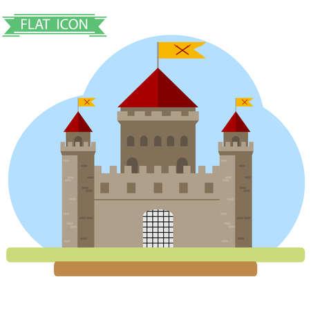 Old castle. Flat design, vector illustration, vector.