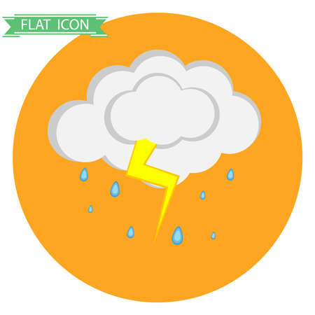 overcast: Cloud with rain and thunder. Flat design, vector illustration, vector. Illustration