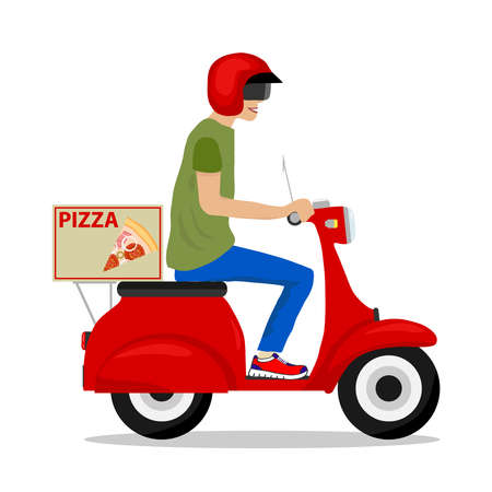 Pizza delivery. Flat design, vector illustration, vector.