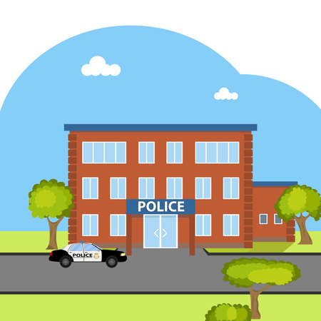 The building of the police. Flat design, vector illustration, vector. Illustration