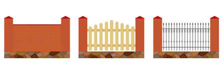 Fence set. Flat design, vector illustration, vector.