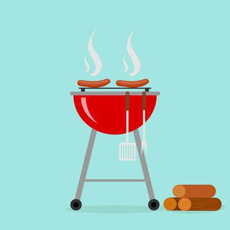 banger: Sausages on the grill. Flat design, vector illustration, vector